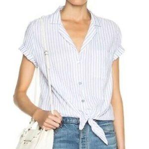 Equipment Femme Knot Pinstripe Button Down Shirt